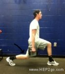 Lunges are a great way to improve knee strength.  Approved use by www.hep2go.com