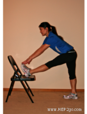Classic hamstring stretch.  Approved use by www.hep2go.com