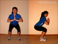 Squats are a great part of knee rehab exercises. Approved use by HEP2go.com
