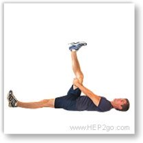 Hamstring stretches can help reduce knee and back pain.  Approved use by www.hep2go.co
