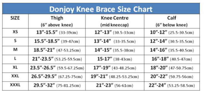 Donjoy Knee Brace Sizing Guide