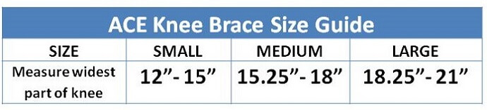 Ace Knee Sleeve sizing guide