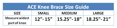 Ace Knee Brace sizing guide