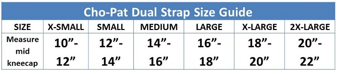 Cho-Pat Dual Knee Strap Size Guide