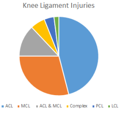 Chart showing the incidence of knee ligament injuries from sports.  Adapted from article in British Journal of Sports Medicine.  Click on photo for more information