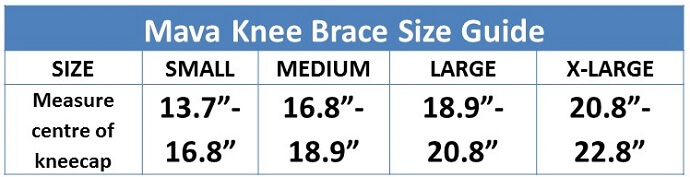 Mava Knee Brace Size Guide
