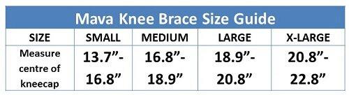 Mava Knee Brace Size Guide