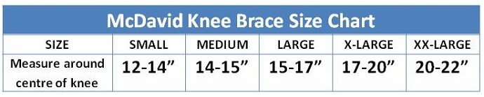 McDavid Knee Sleeve Sizing Guide