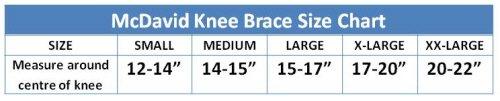 McDavid Knee Brace Size Guide