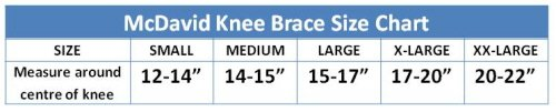 McDavid Knee Brace Sizing Guide