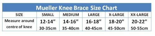 Mueller Knee Brace Sizing Guide