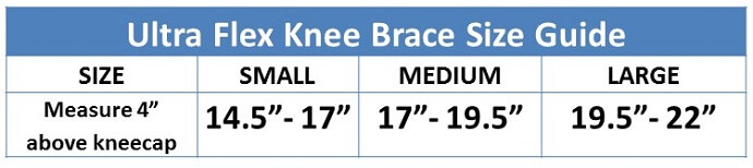 Ultra Flex Athletics Knee Brace Size Guide