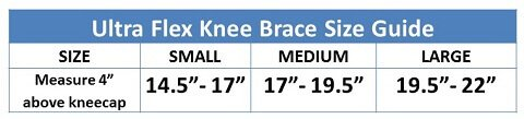 Ultra Flex Athletics Knee Brace Size Guide