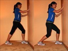 Calf stretch for soleus muscle. Approved use by www.hep2go.com