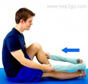 Calf stretches can also be done sitting down.  Approved use by www.hep2go.com