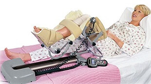 A CPM machine rhythmically bends your knee up and down to variable degrees of flexion.  Some people use this after a knee replacement to prevent or treat stiffness