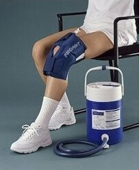 A cryocuff is a very effective way to use ice therapy to reduce swelling after a knee replacement