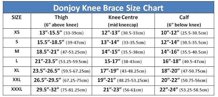 Donjoy Knee Brace Sizing Guide