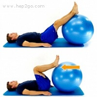 Hamstring curls on a gym ball for strengthening - stage 1