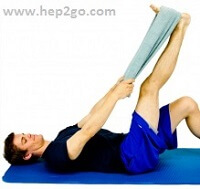 Hamstring stretches are a vital part of rehab with pes anserine bursitis.  Approved use www.hep2go.com