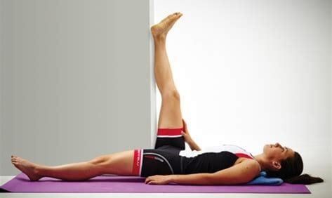 Hamstring Stretches: Using the wall is a great way to really target the hamstrings when stretching