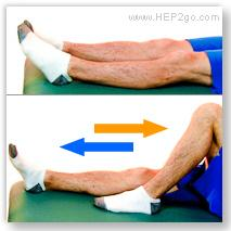 Heel slides are a good way to regain knee flexion after a torn meniscus. Approved use by www.hep2go.com