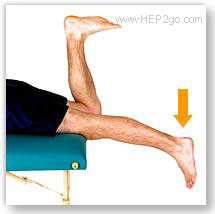 Prone knee hangs are a good exercise for regain knee extension following a torn meniscus. Approved use by www.hep2go.com