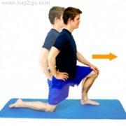 Kneeling quads stretch for Osgood Schlatters Disease