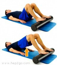 Bridging exercises on a roller is a great strengthening exercise for the hamstrings and glutes