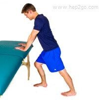 Standing calf stretch for gastrocnemius. Approved use by www.hep2go.com