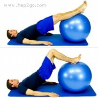 Combining hamstring curls and bridging on a gym ball is an excellent way to strengthen the hamstrings