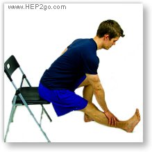 Seated hamstring stretch.  Approved use by www.hep2go.com